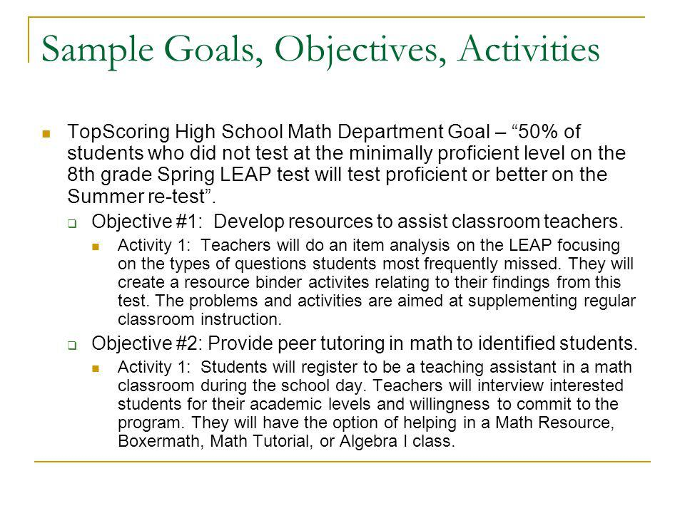 Sample Goals, Objectives, Activities TopScoring High School Math Department Goal – 50% of students who did not test at the minimally proficient level