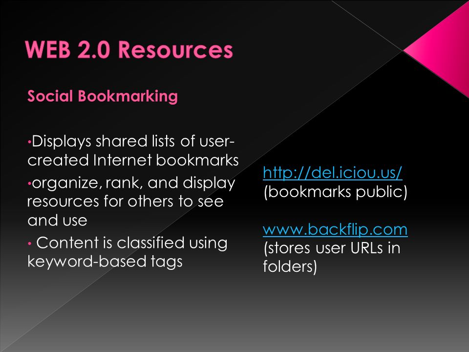Social Bookmarking Displays shared lists of user- created Internet bookmarks organize, rank, and display resources for others to see and use Content i