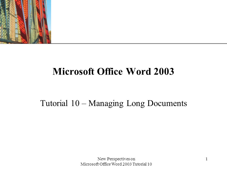 XP New Perspectives on Microsoft Office Word 2003 Tutorial 10 2 Use master documents in Word With Word, you can create a master document, which is a long document divided into smaller individual files, called subdocuments.