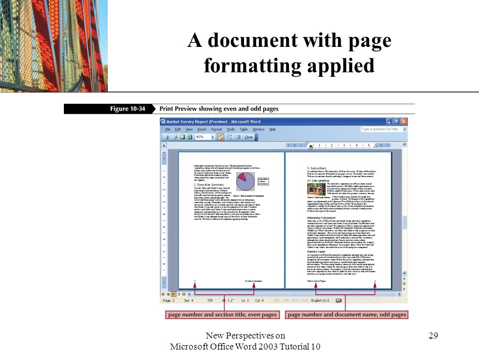 XP New Perspectives on Microsoft Office Word 2003 Tutorial 10 29 A document with page formatting applied