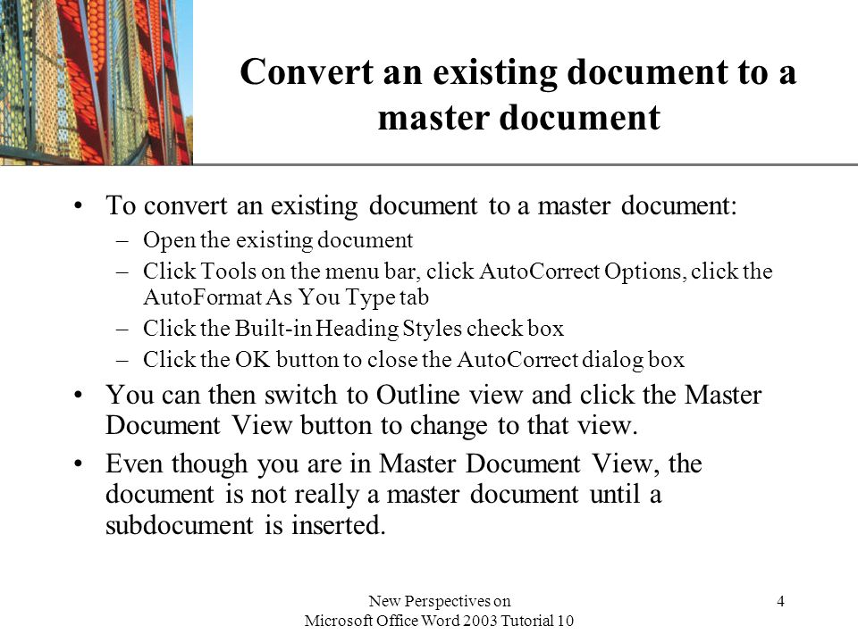 XP New Perspectives on Microsoft Office Word 2003 Tutorial 10 25 Use advanced page numbering techniques and style references For a document to be published as a book, you may want to include special page numbering techniques.