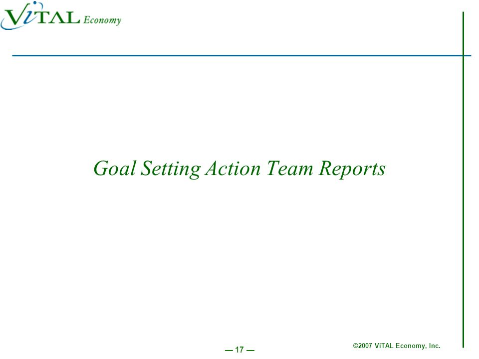 ©2007 ViTAL Economy, Inc. 17 Goal Setting Action Team Reports