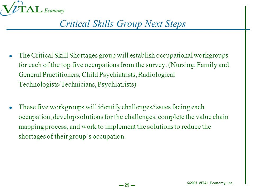 ©2007 ViTAL Economy, Inc. 29 Critical Skills Group Next Steps The Critical Skill Shortages group will establish occupational workgroups for each of th