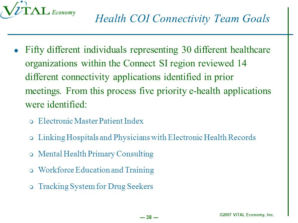 ©2007 ViTAL Economy, Inc. 38 Health COI Connectivity Team Goals Fifty different individuals representing 30 different healthcare organizations within