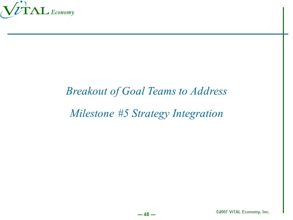 ©2007 ViTAL Economy, Inc. 48 Breakout of Goal Teams to Address Milestone #5 Strategy Integration