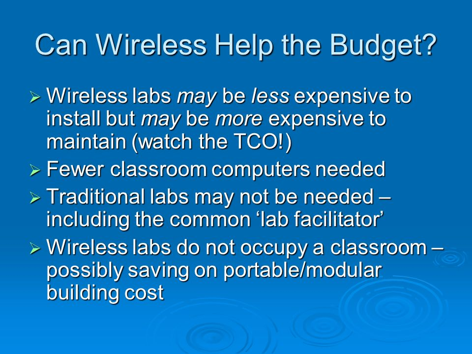 Can Wireless Help the Budget.