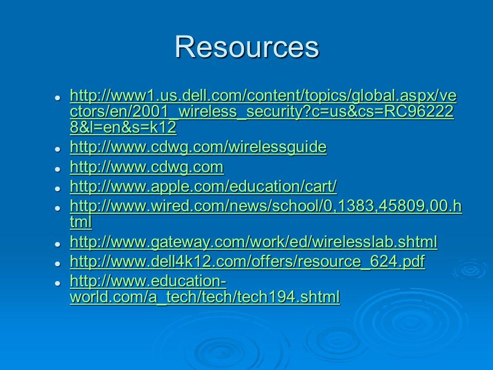 Resources http://www1.us.dell.com/content/topics/global.aspx/ve ctors/en/2001_wireless_security c=us&cs=RC96222 8&l=en&s=k12 http://www1.us.dell.com/content/topics/global.aspx/ve ctors/en/2001_wireless_security c=us&cs=RC96222 8&l=en&s=k12 http://www1.us.dell.com/content/topics/global.aspx/ve ctors/en/2001_wireless_security c=us&cs=RC96222 8&l=en&s=k12 http://www1.us.dell.com/content/topics/global.aspx/ve ctors/en/2001_wireless_security c=us&cs=RC96222 8&l=en&s=k12 http://www.cdwg.com/wirelessguide http://www.cdwg.com/wirelessguide http://www.cdwg.com/wirelessguide http://www.cdwg.com http://www.cdwg.com http://www.cdwg.com http://www.apple.com/education/cart/ http://www.apple.com/education/cart/ http://www.apple.com/education/cart/ http://www.wired.com/news/school/0,1383,45809,00.h tml http://www.wired.com/news/school/0,1383,45809,00.h tml http://www.wired.com/news/school/0,1383,45809,00.h tml http://www.wired.com/news/school/0,1383,45809,00.h tml http://www.gateway.com/work/ed/wirelesslab.shtml http://www.gateway.com/work/ed/wirelesslab.shtml http://www.gateway.com/work/ed/wirelesslab.shtml http://www.dell4k12.com/offers/resource_624.pdf http://www.dell4k12.com/offers/resource_624.pdf http://www.dell4k12.com/offers/resource_624.pdf http://www.education- world.com/a_tech/tech/tech194.shtml http://www.education- world.com/a_tech/tech/tech194.shtml http://www.education- world.com/a_tech/tech/tech194.shtml http://www.education- world.com/a_tech/tech/tech194.shtml