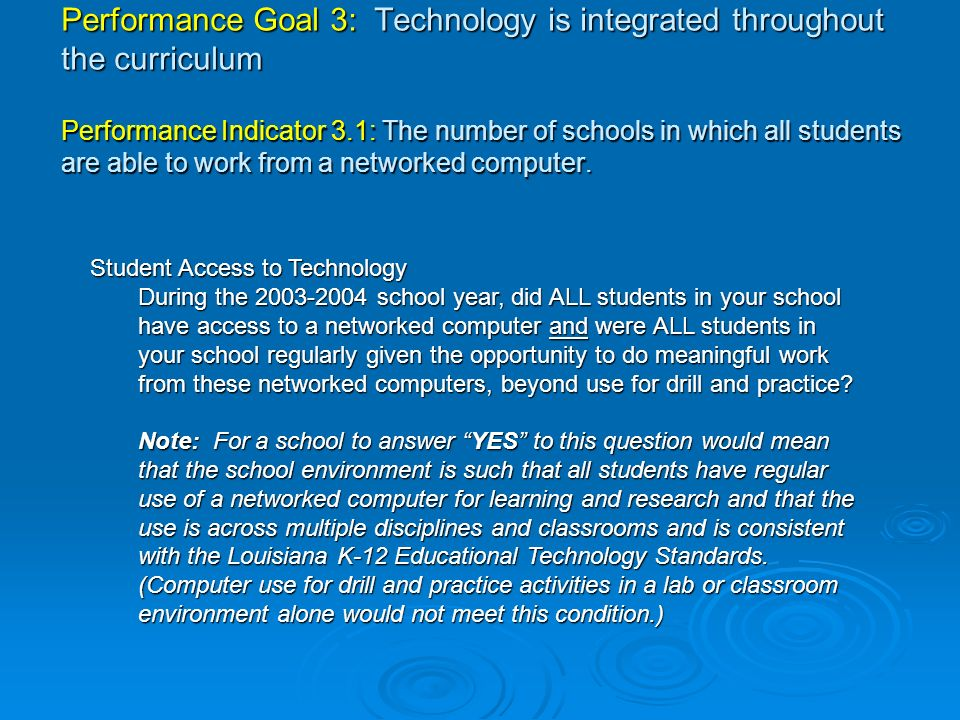 Performance Goal 3: Technology is integrated throughout the curriculum Performance Indicator 3.1: The number of schools in which all students are able to work from a networked computer.