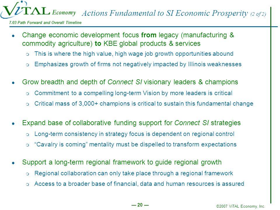 ©2007 ViTAL Economy, Inc. 20 Actions Fundamental to SI Economic Prosperity (2 of 2) Change economic development focus from legacy (manufacturing & com