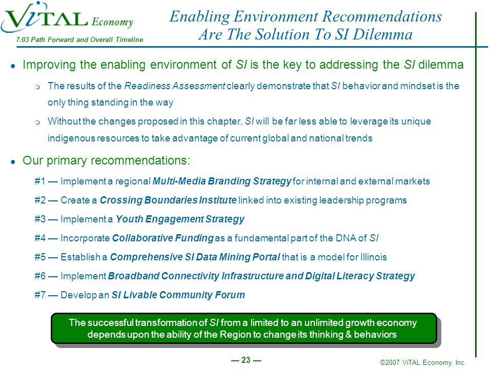 ©2007 ViTAL Economy, Inc. 23 Enabling Environment Recommendations Are The Solution To SI Dilemma Improving the enabling environment of SI is the key t
