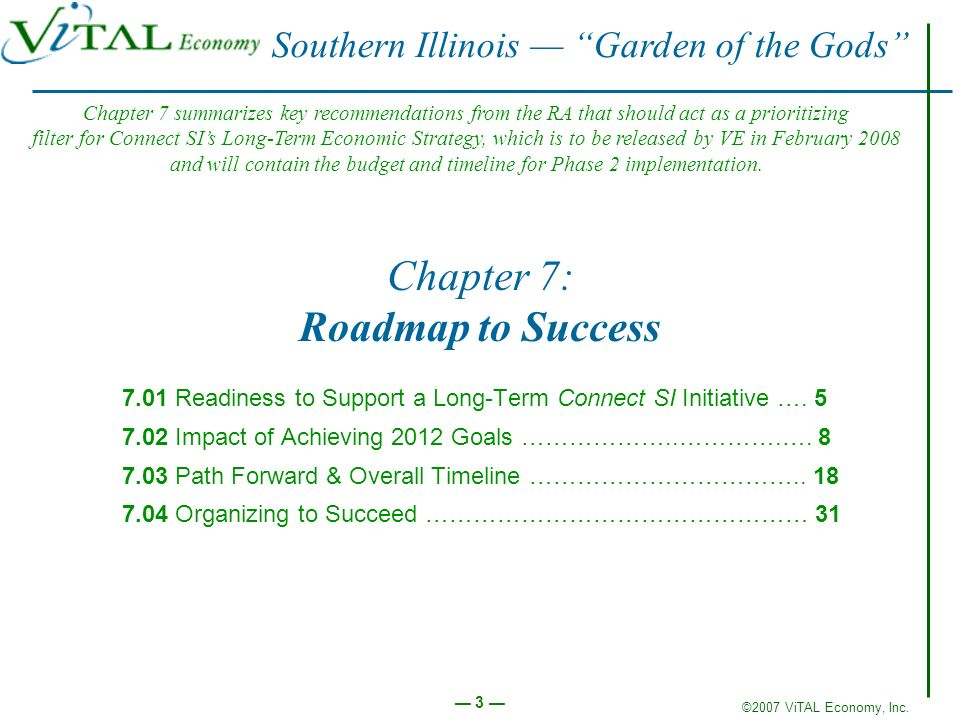 ©2007 ViTAL Economy, Inc. 3 Chapter 7: Roadmap to Success 7.01 Readiness to Support a Long-Term Connect SI Initiative …. 5 7.02 Impact of Achieving 20