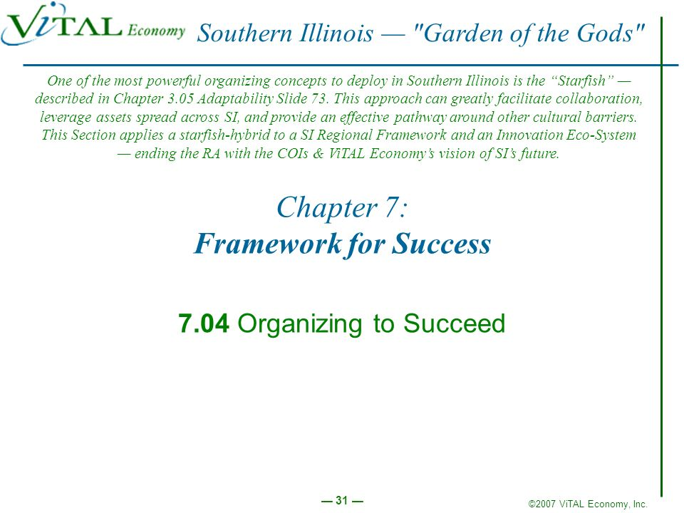 ©2007 ViTAL Economy, Inc. 31 Chapter 7: Framework for Success 7.04 Organizing to Succeed Southern Illinois