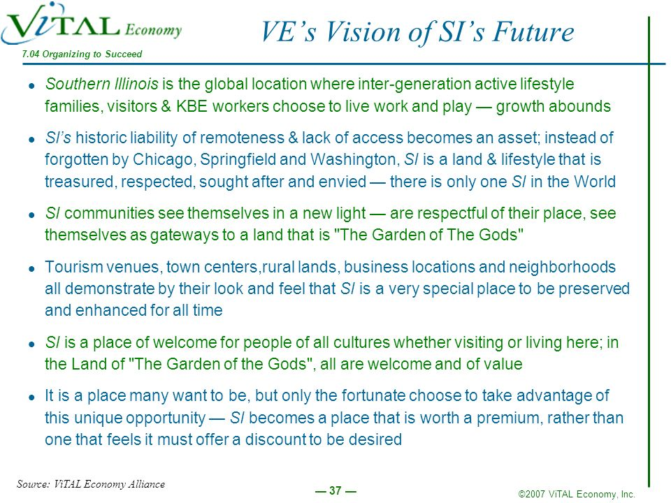 ©2007 ViTAL Economy, Inc. 37 VEs Vision of SIs Future Southern Illinois is the global location where inter-generation active lifestyle families, visit