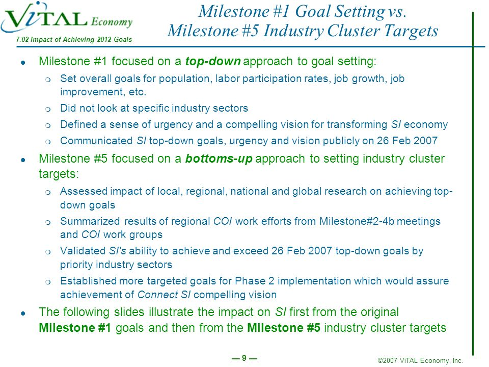 ©2007 ViTAL Economy, Inc. 9 Milestone #1 Goal Setting vs. Milestone #5 Industry Cluster Targets Milestone #1 focused on a top-down approach to goal se