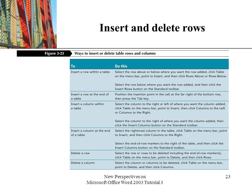 XP New Perspectives on Microsoft Office Word 2003 Tutorial 3 23 Insert and delete rows