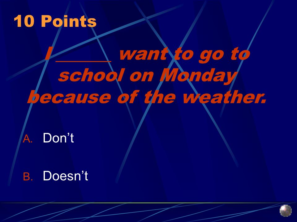 I ______ want to go to school on Monday because of the weather. A. Dont B. Doesnt 10 Points