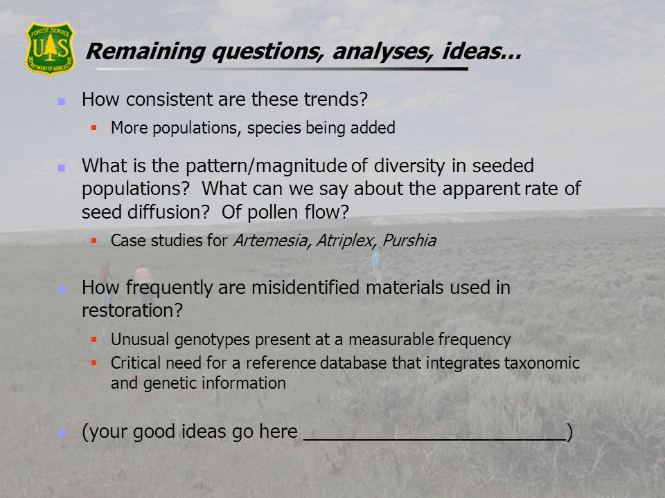 Remaining questions, analyses, ideas… How consistent are these trends? More populations, species being added What is the pattern/magnitude of diversit
