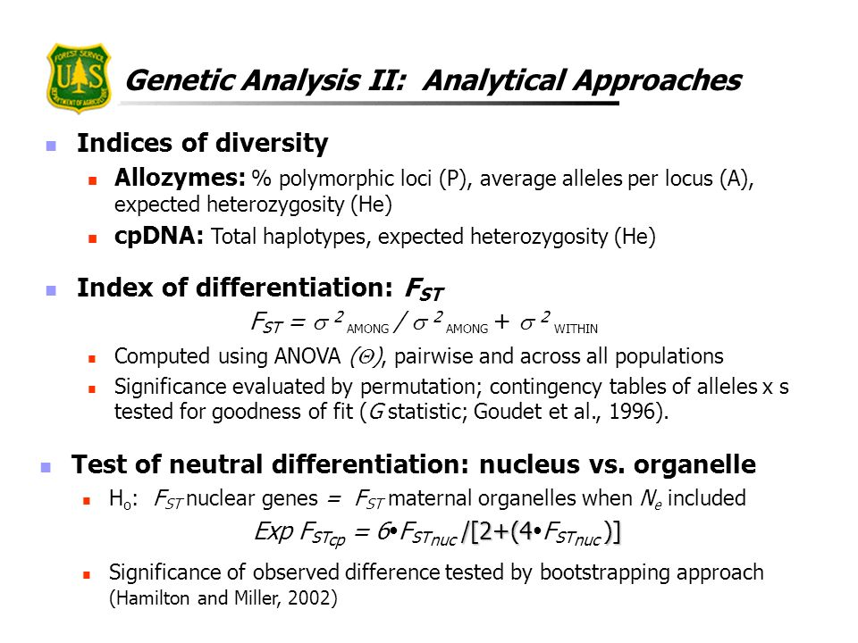 Genetic Analysis II: Analytical Approaches Indices of diversity Allozymes: % polymorphic loci (P), average alleles per locus (A), expected heterozygos