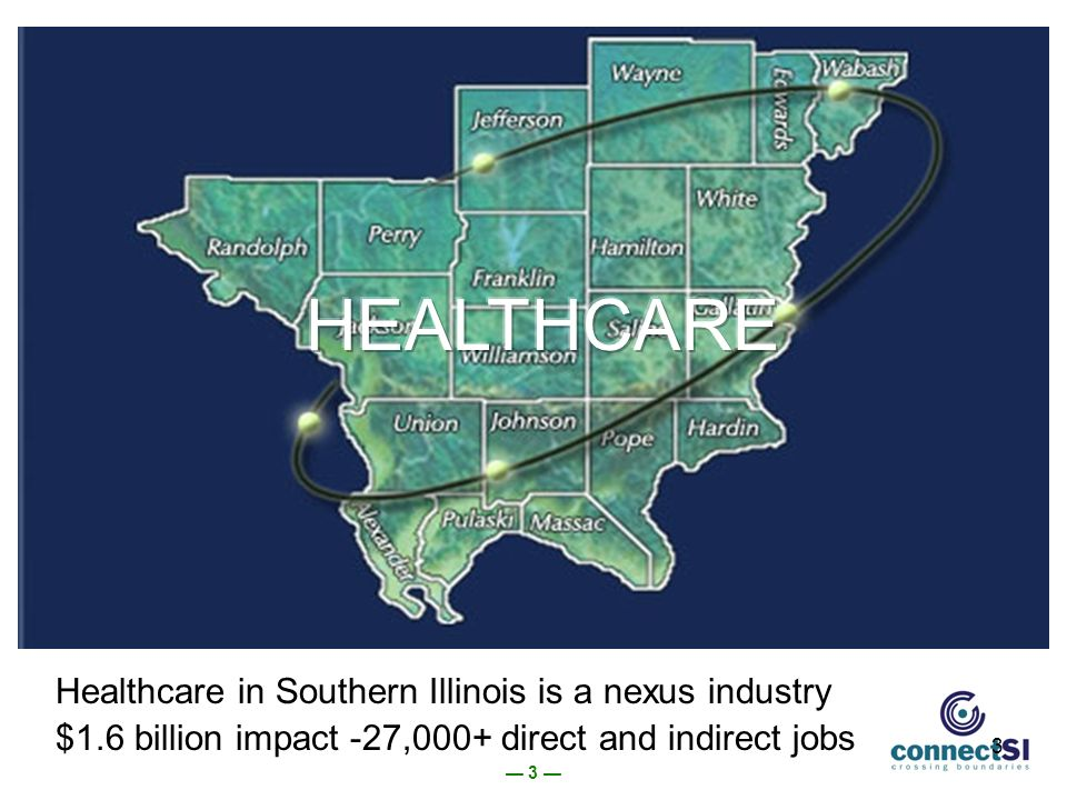 3 3 Healthcare in Southern Illinois is a nexus industry $1.6 billion impact -27,000+ direct and indirect jobs