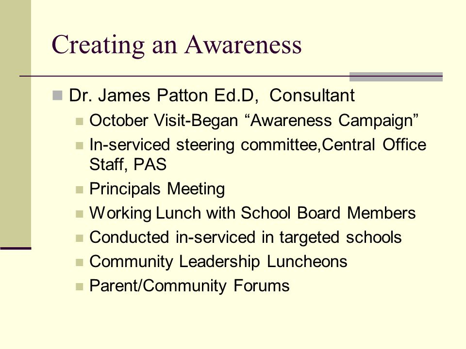Creating an Awareness Dr. James Patton Ed.D, Consultant October Visit-Began Awareness Campaign In-serviced steering committee,Central Office Staff, PA