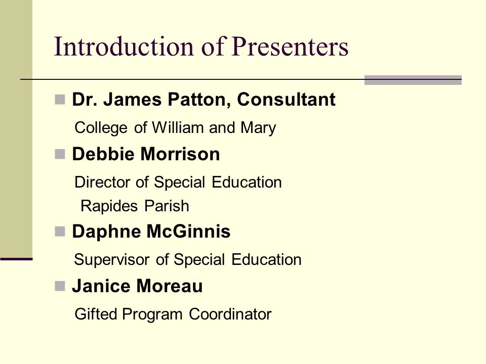 Introduction of Presenters Dr.