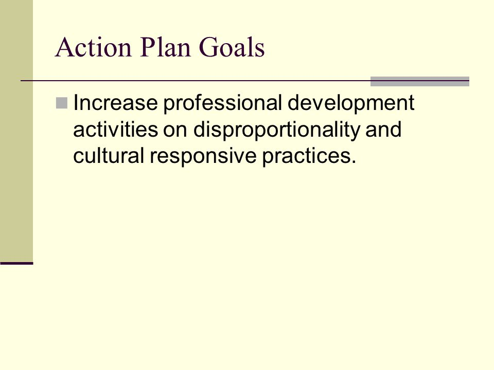 Action Plan Goals Increase professional development activities on disproportionality and cultural responsive practices.