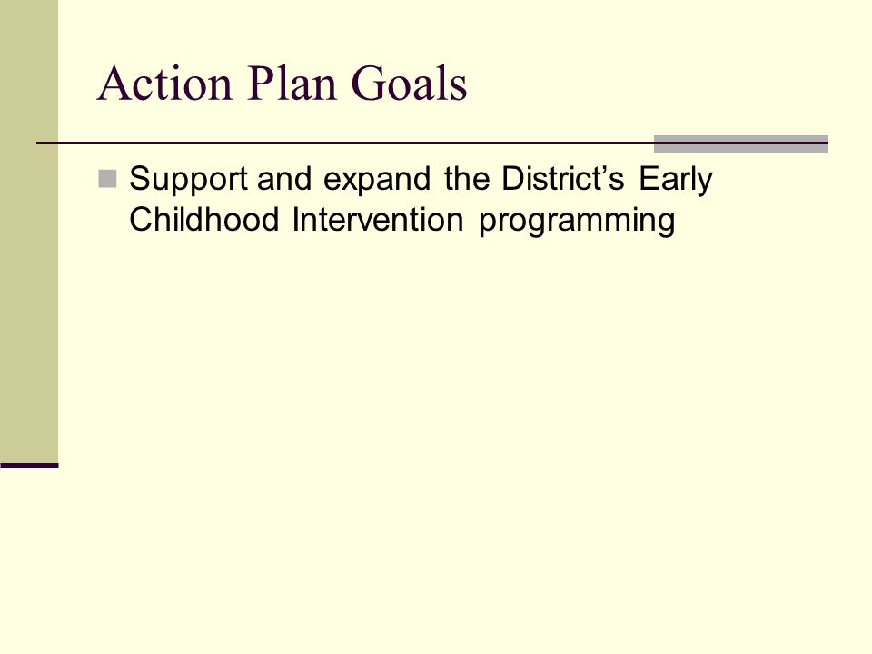 Action Plan Goals Support and expand the Districts Early Childhood Intervention programming