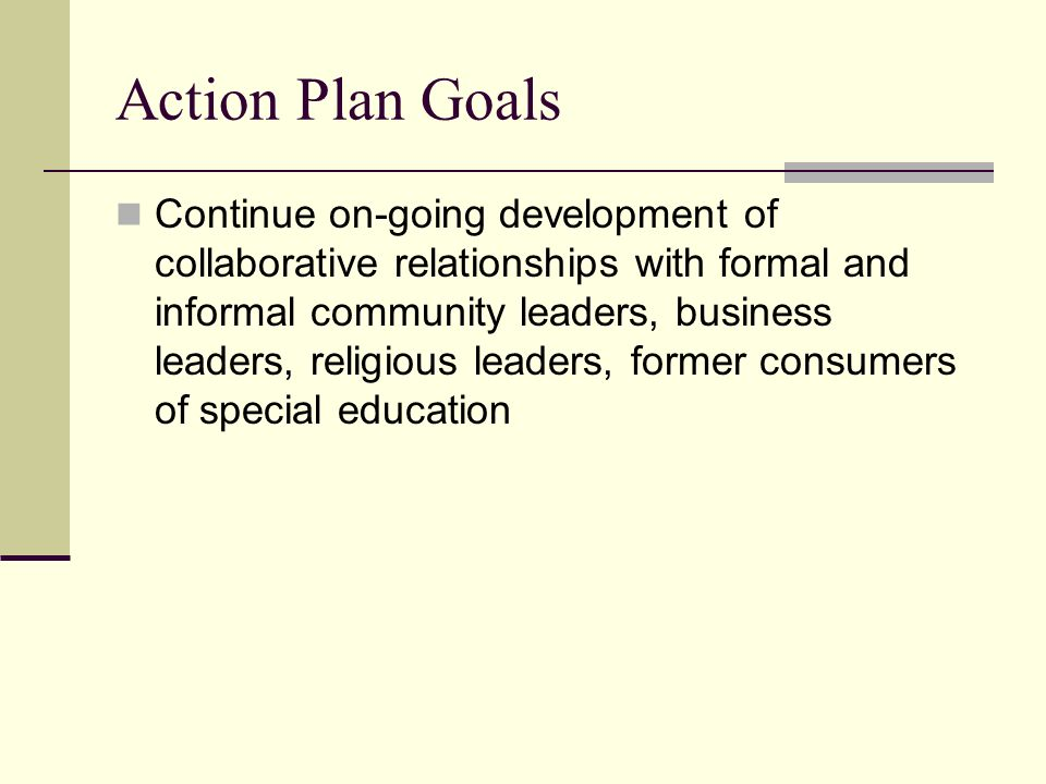 Action Plan Goals Continue on-going development of collaborative relationships with formal and informal community leaders, business leaders, religious leaders, former consumers of special education