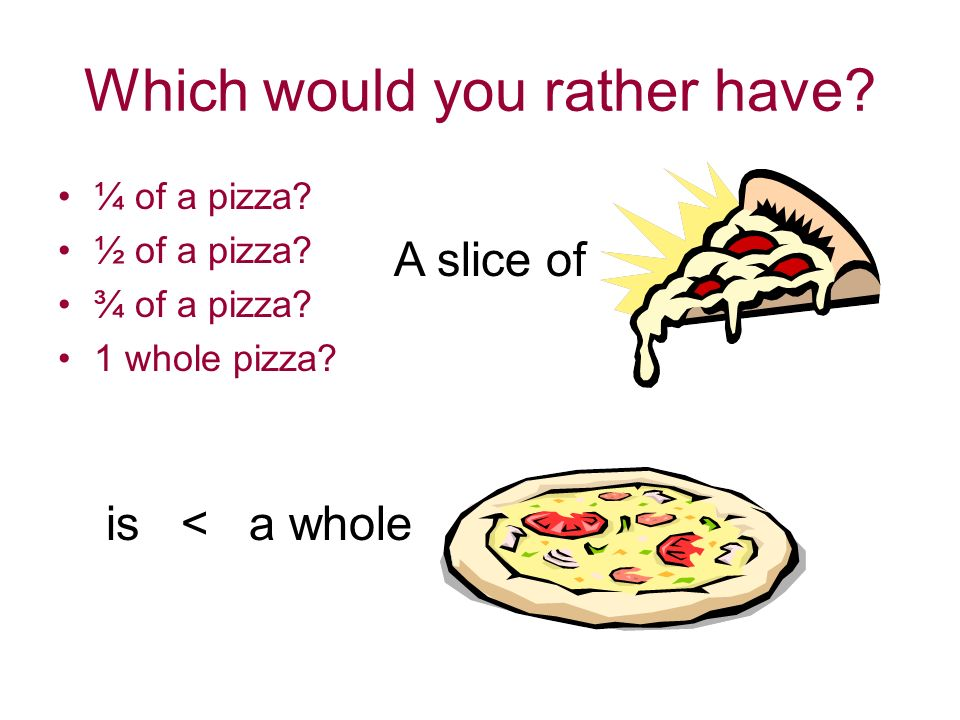 Which would you rather have. ¼ of a pizza. ½ of a pizza.