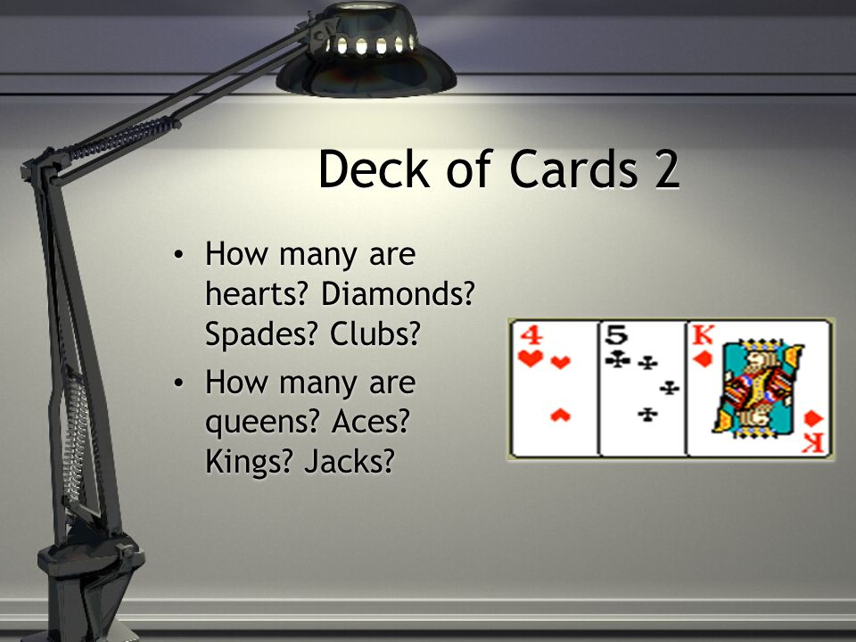 Deck of Cards 2 How many are hearts. Diamonds. Spades.