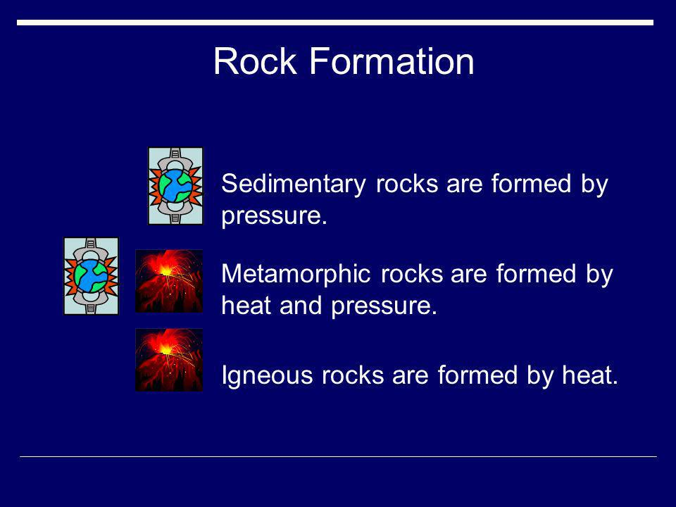 Rock Formation Sedimentary rocks are formed by pressure.