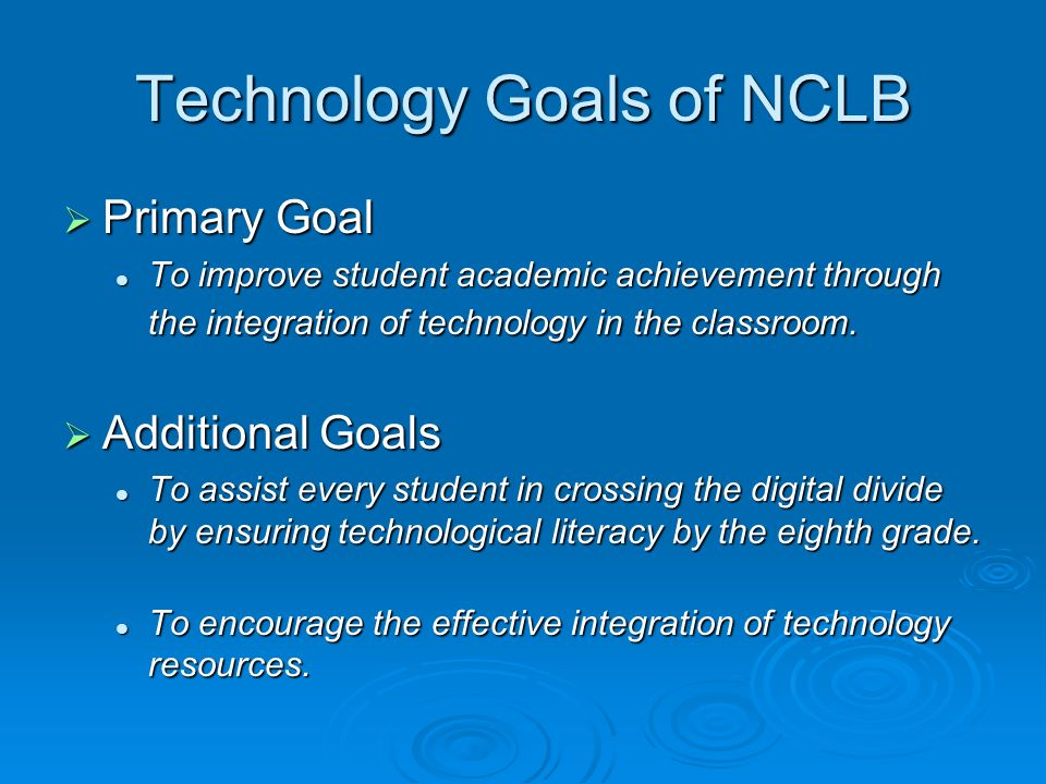 Each State Application Must Include (1) …..long-term strategies for improving student academic achievement, including technology literacy, through the effective use of technology…….