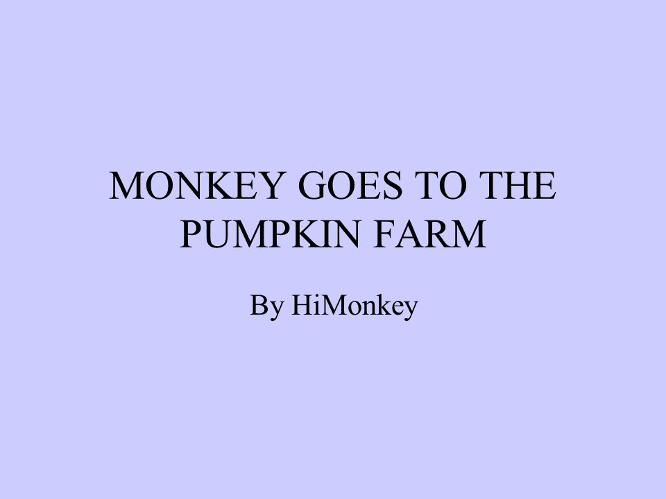 MONKEY GOES TO THE PUMPKIN FARM By HiMonkey