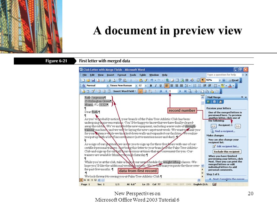 XP New Perspectives on Microsoft Office Word 2003 Tutorial 6 20 A document in preview view