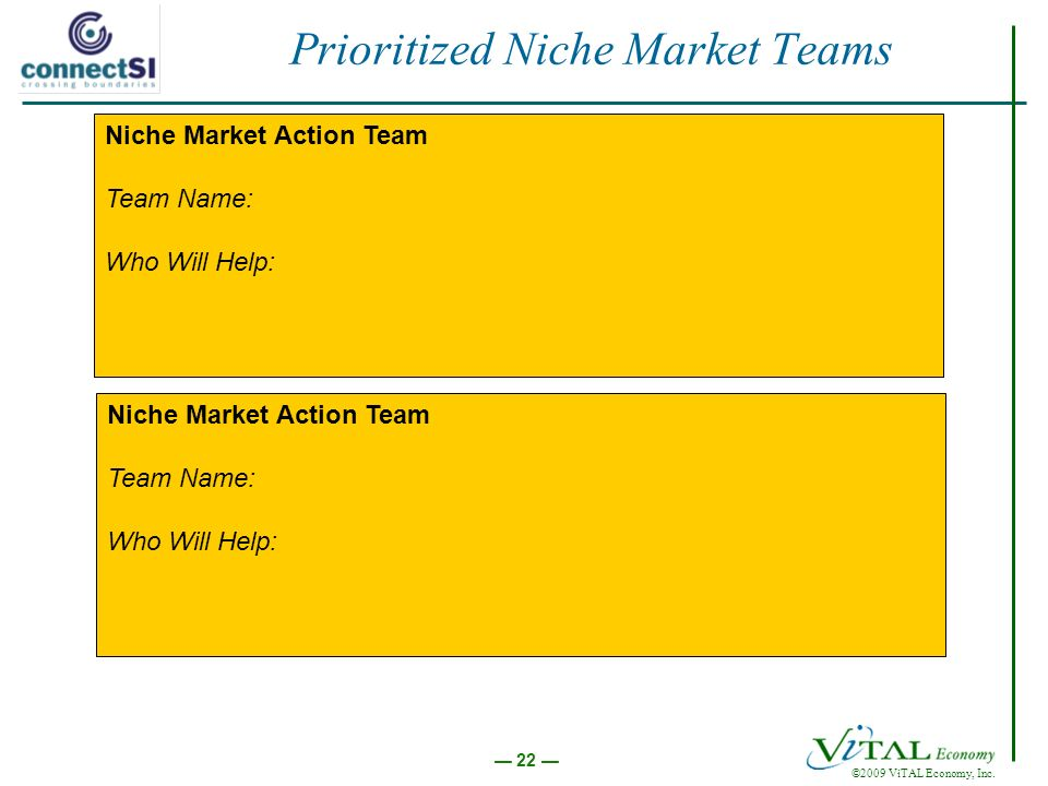 ©2009 ViTAL Economy, Inc. 22 Prioritized Niche Market Teams Niche Market Action Team Team Name: Who Will Help: Niche Market Action Team Team Name: Who