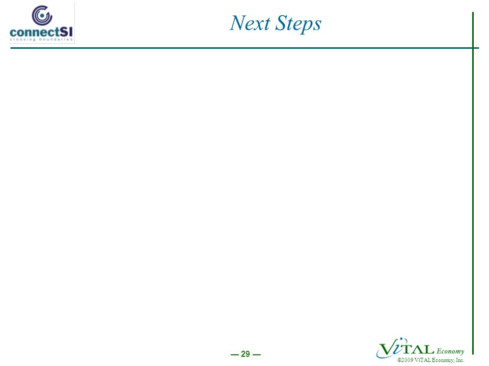 ©2009 ViTAL Economy, Inc. 29 Next Steps