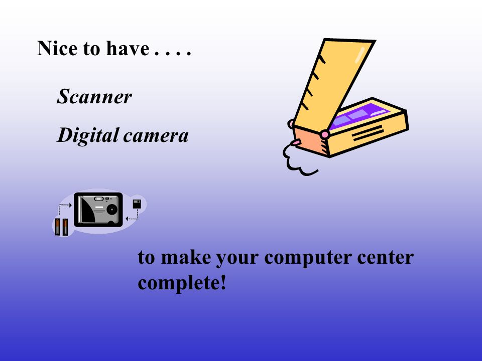 Nice to have.... Scanner Digital camera to make your computer center complete!