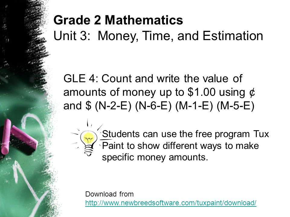 GLE 4: Count and write the value of amounts of money up to $1.00 using ¢ and $ (N-2-E) (N-6-E) (M-1-E) (M-5-E) Grade 2 Mathematics Unit 3: Money, Time