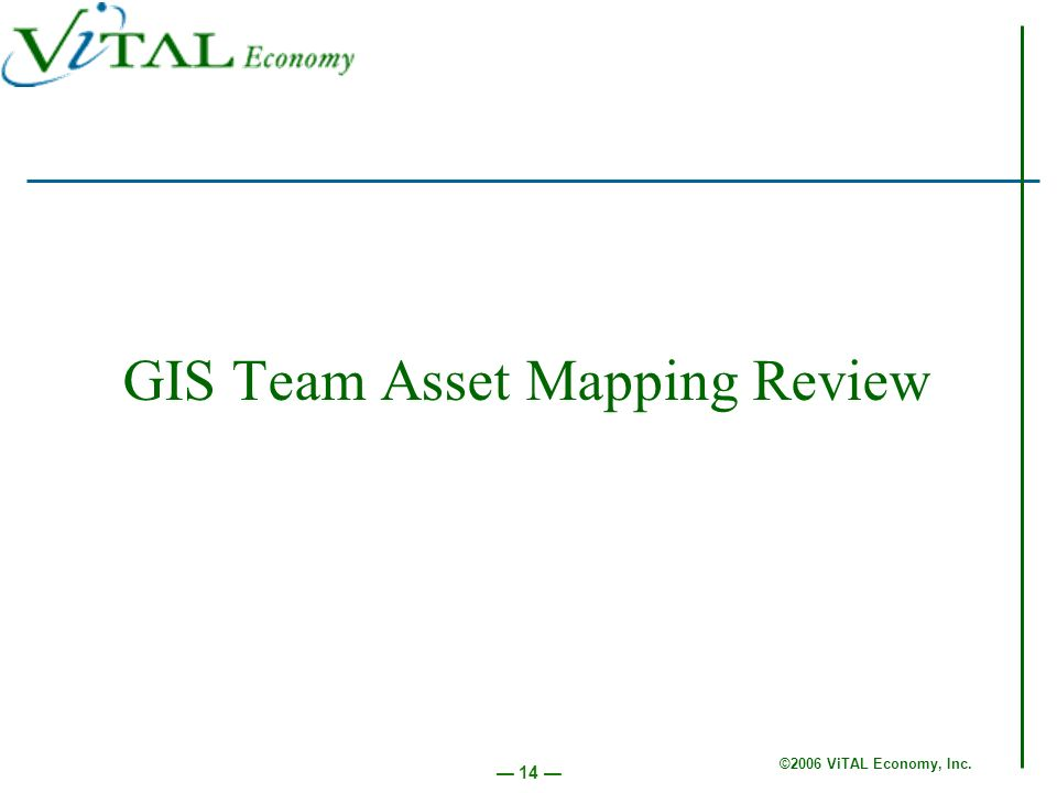 ©2006 ViTAL Economy, Inc. 14 GIS Team Asset Mapping Review