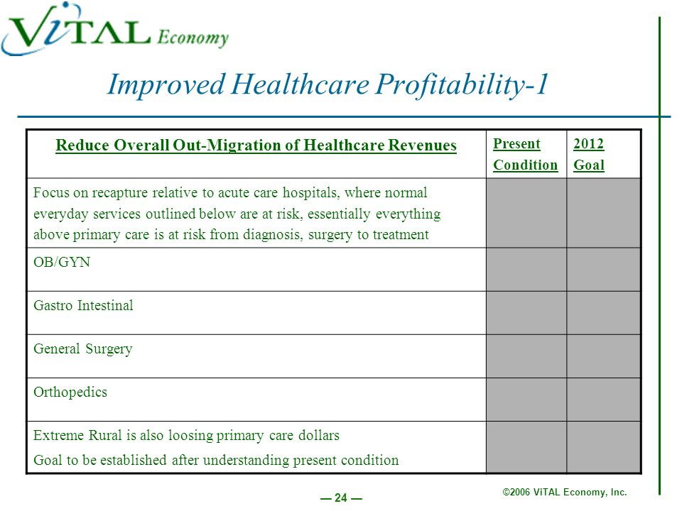 ©2006 ViTAL Economy, Inc. 24 Improved Healthcare Profitability-1 Reduce Overall Out-Migration of Healthcare Revenues Present Condition 2012 Goal Focus