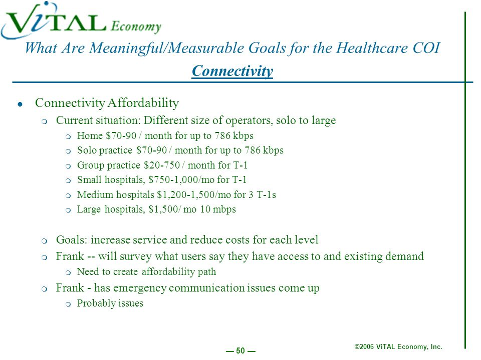 ©2006 ViTAL Economy, Inc. 50 Connectivity Affordability m Current situation: Different size of operators, solo to large m Home $70-90 / month for up t