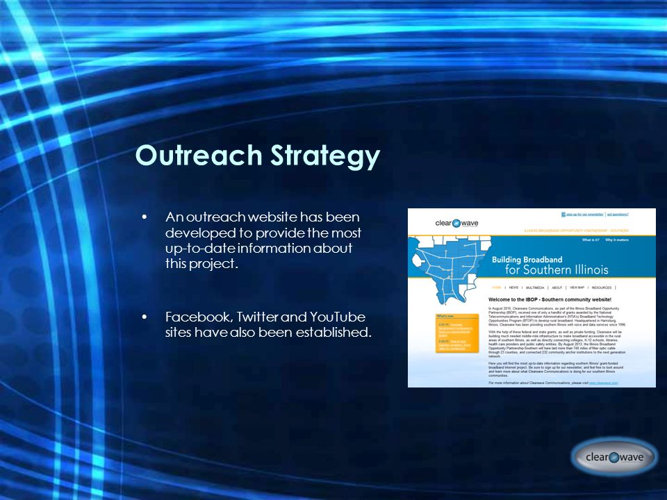 Outreach Strategy An outreach website has been developed to provide the most up-to-date information about this project.