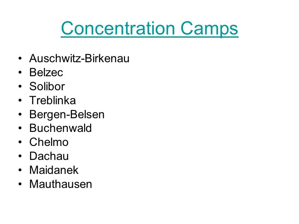 Concentration Camps Auschwitz-Birkenau Belzec Solibor Treblinka Bergen-Belsen Buchenwald Chelmo Dachau Maidanek Mauthausen
