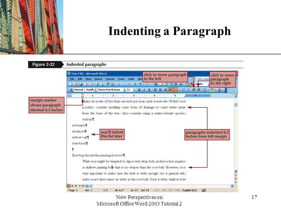 XP New Perspectives on Microsoft Office Word 2003 Tutorial 2 17 Indenting a Paragraph