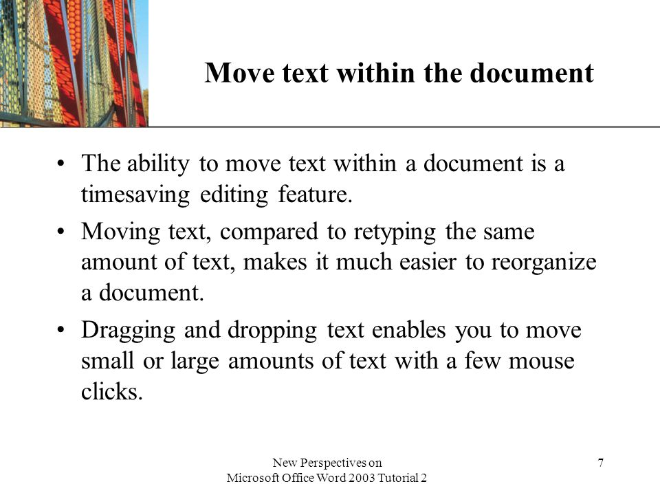 XP New Perspectives on Microsoft Office Word 2003 Tutorial 2 28 Add a comment to a document A comment is an electronic way of attaching a note about a certain word or section of the text, much as you would write a note in the margins of a paper document.