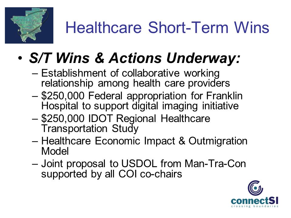 Healthcare Short-Term Wins S/T Wins & Actions Underway: –Establishment of collaborative working relationship among health care providers –$250,000 Federal appropriation for Franklin Hospital to support digital imaging initiative –$250,000 IDOT Regional Healthcare Transportation Study –Healthcare Economic Impact & Outmigration Model –Joint proposal to USDOL from Man-Tra-Con supported by all COI co-chairs