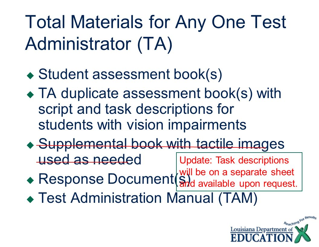 Total Materials for Any One Test Administrator (TA) Student assessment book(s) TA duplicate assessment book(s) with script and task descriptions for students with vision impairments Supplemental book with tactile images used as needed Response Document(s) Test Administration Manual (TAM) Update: Task descriptions will be on a separate sheet and available upon request.