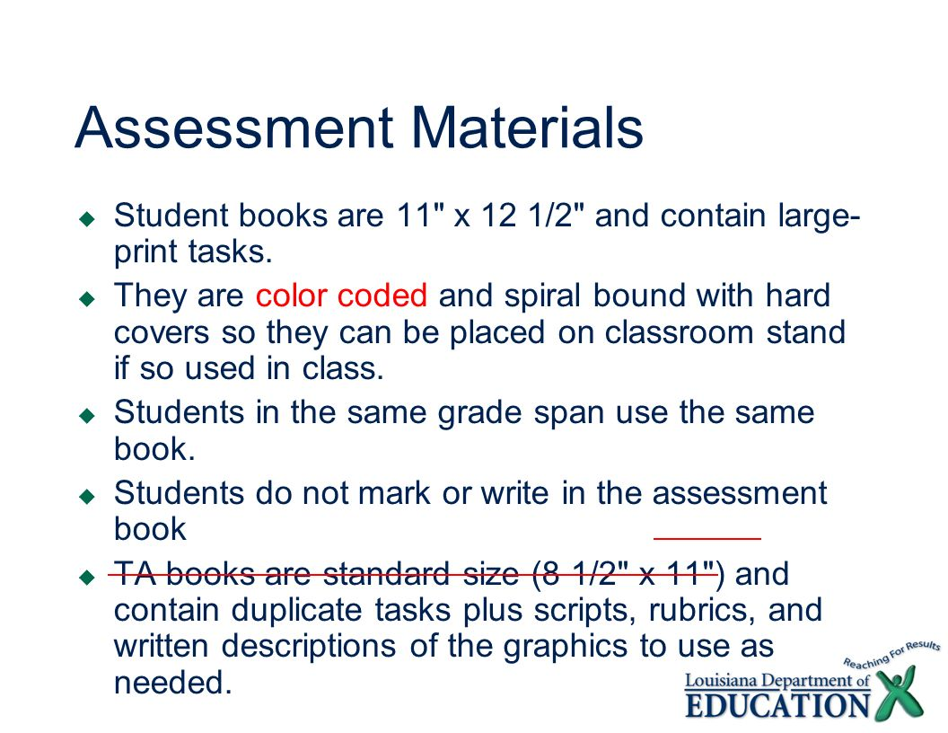 Assessment Materials Student books are 11