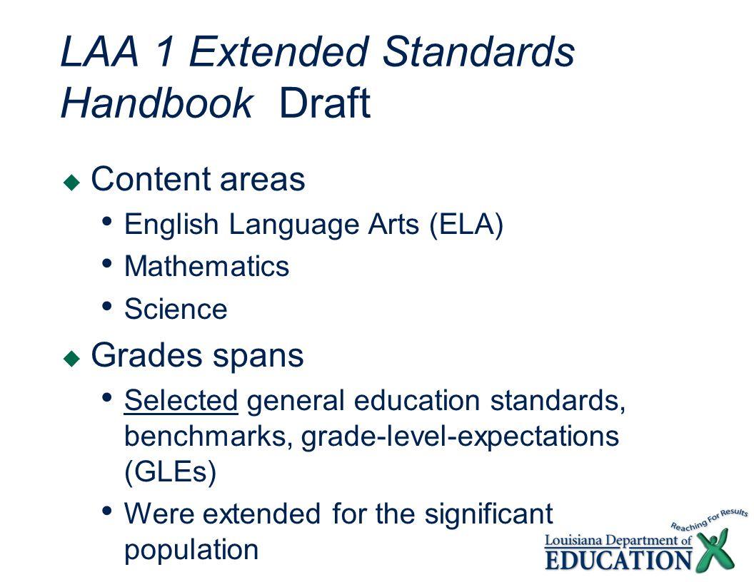 LAA 1 Extended Standards Handbook Draft Content areas English Language Arts (ELA) Mathematics Science Grades spans Selected general education standard