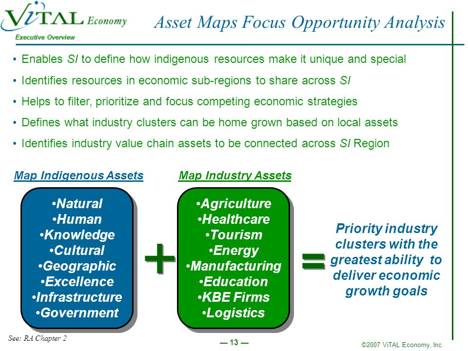 ©2007 ViTAL Economy, Inc. Executive Overview 13 Asset Maps Focus Opportunity Analysis Enables SI to define how indigenous resources make it unique and